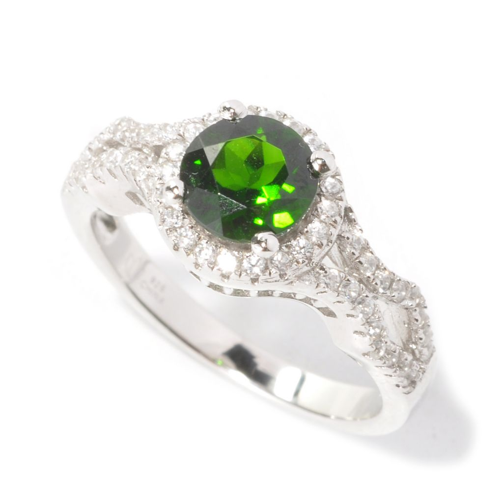 133-538 - Gem Insider Sterling Silver 1.61ctw Chrome Diopside & White Zircon Halo Ring