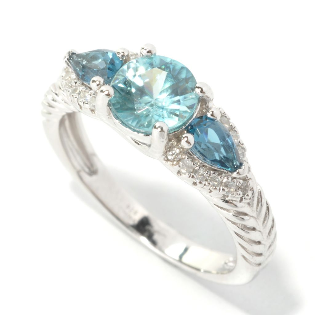 133-539 - Gem Insider Sterling Silver 2.11ctw Multi Zircon & London Blue Topaz Ring