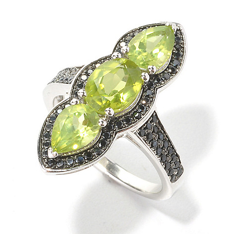 133-540 - Gem Insider™ Sterling Silver 3.33ctw Peridot & Spinel Framed North-South Ring