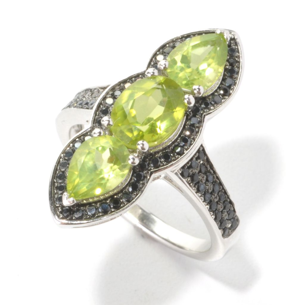 133-540 - Gem Insider Sterling Silver 3.33ctw Peridot & Spinel Framed North-South Ring