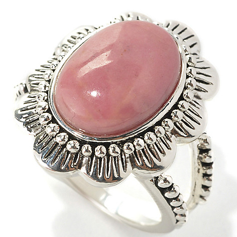 133-555 - Elements by Sarkash Silver-tone 14 x 10mm Rhodonite Flower Ring