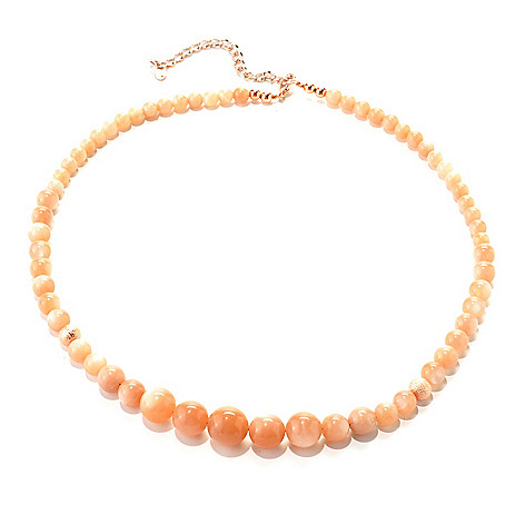 133-557 - Elements by Sarkas Copper 20'' Peach Moonstone Graduated Bead Necklace w/ 3'' Extender
