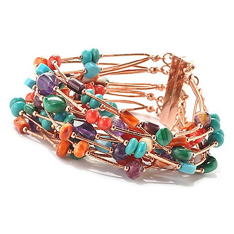 133-559 - Elements by Sarkash Copper 7.5'' Heishi Bead & Multi Gemstone 15-Strand Bracelet w/ Magnetic Clasp
