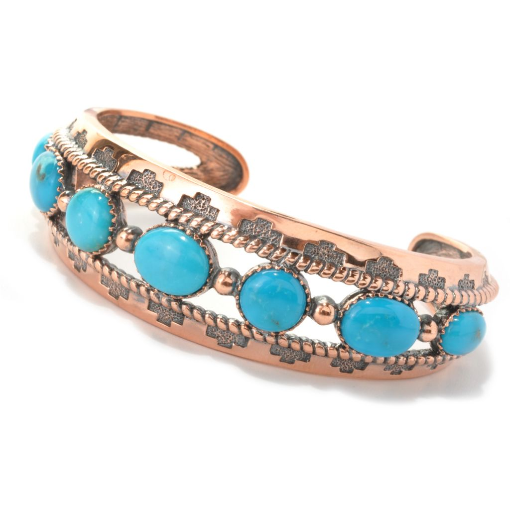 "133-560 - Elements by Sarkash 6.5"" Kingman Turquoise Split Cuff Bracelet"