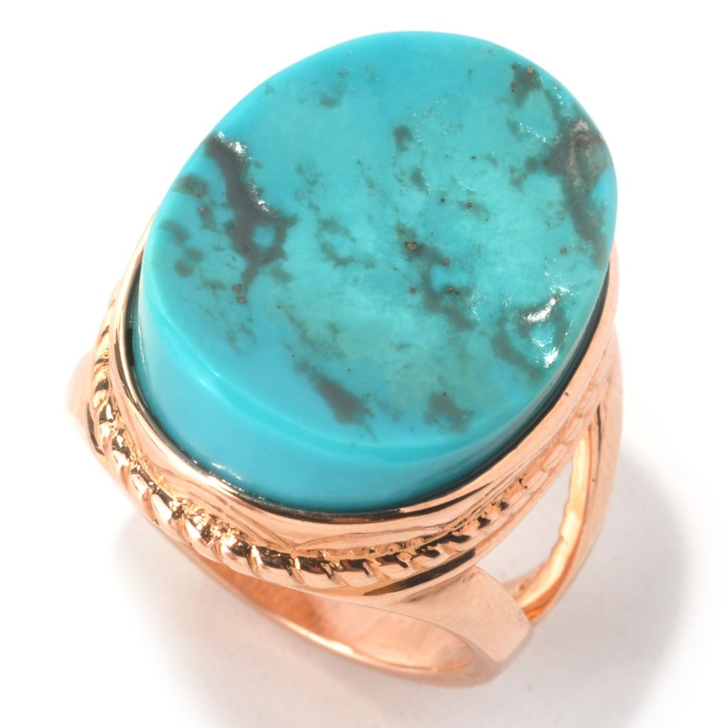 133-563 - Elements by Sarkash 20 x 16mm Oval American Turquoise Split Shank Ring