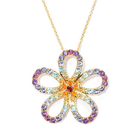 133-567 - NYC II 3.33ctw Exotic Rainbow Multi Gemstone Flower Pendant w/ 20'' Chain