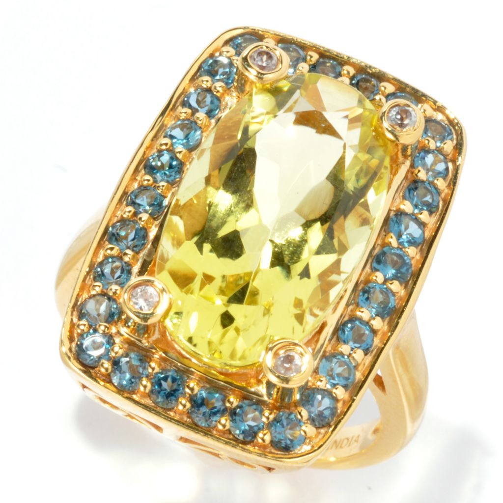 133-569 - NYC II 8.07ctw Elongated Gemstone, White Zircon & London Blue Topaz Ring
