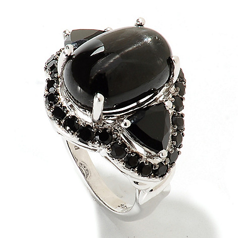 133-572 - NYC II 14 x 10mm Oval Black Star Diopside & Spinel Ring