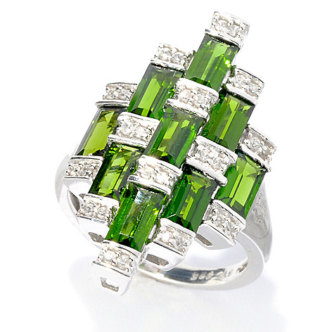 133-574 - NYC II 3.11ctw Baguette Chrome Diopside & White Zircon Tiered Ring