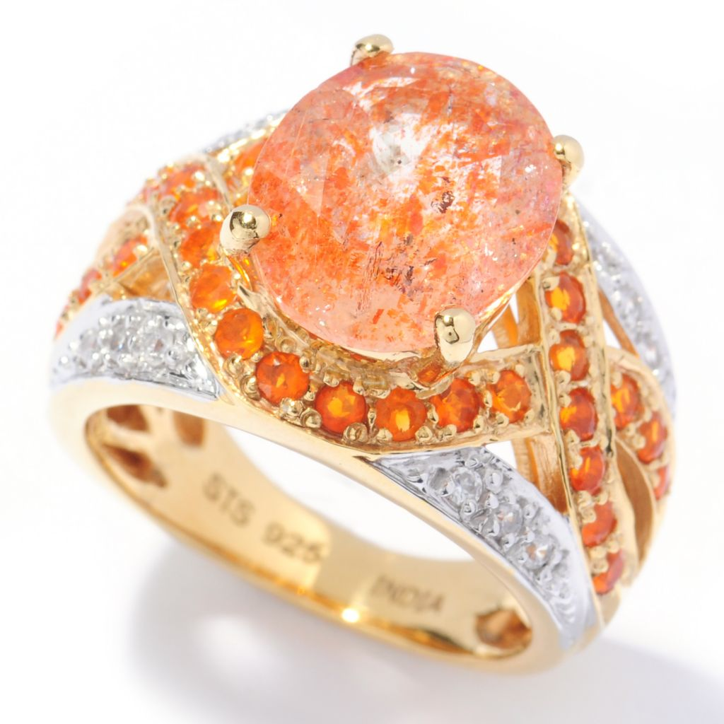 133-576 - NYC II 3.30ctw Tanzanian Sunstone, Fire Opal & White Zircon Ring