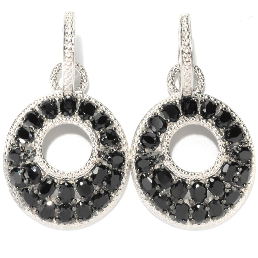 "133-581 - NYC II 1.5"" 6.30ctw Black Spinel Door-Knocker Drop Earrings"