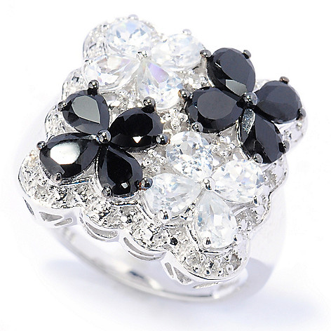 133-585 - NYC II 2.78ctw Black Spinel & White Zircon Four-Flower Ring