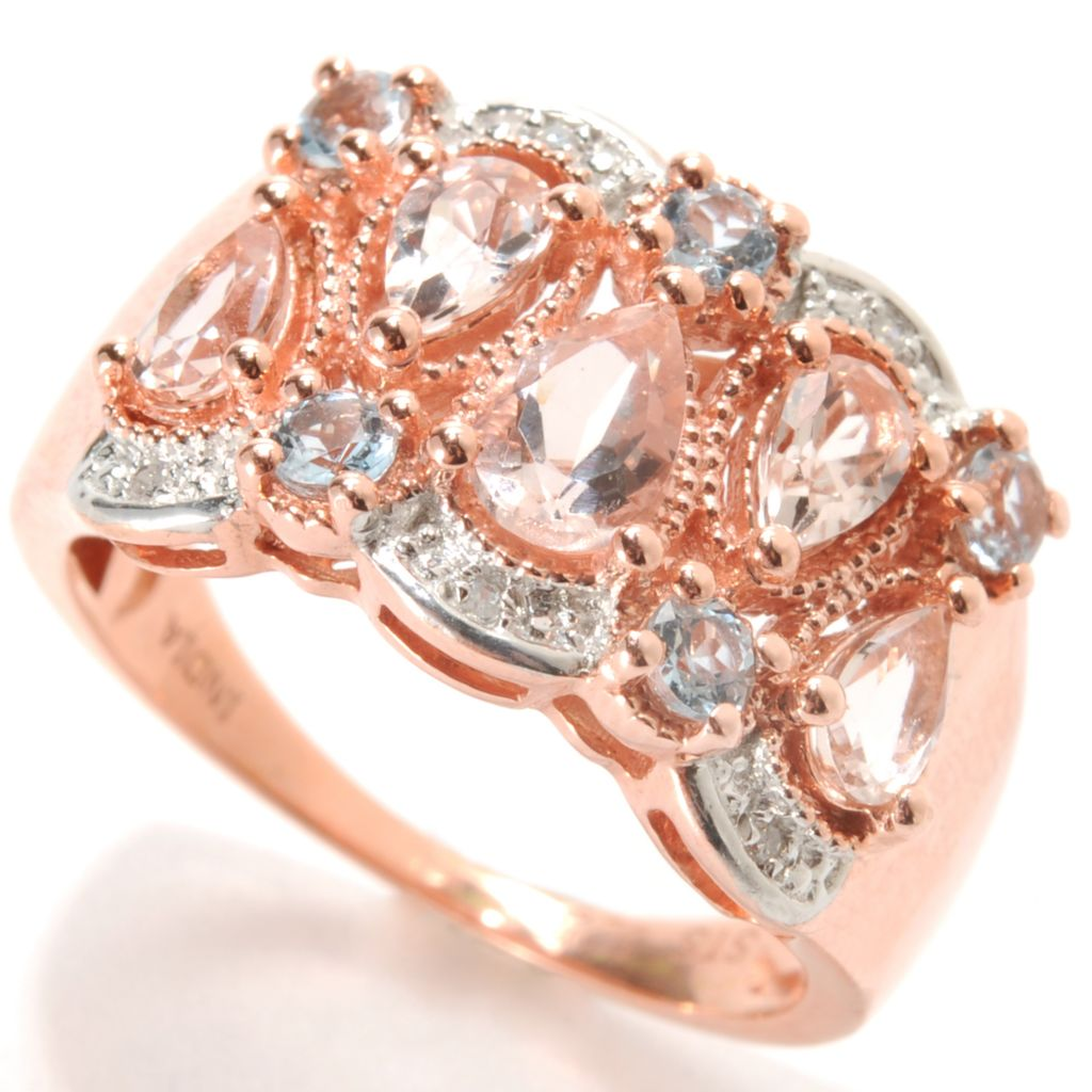 133-586 - NYC II 1.20ctw Pear Shaped Morganite, Aquamarine & Diamond Ring