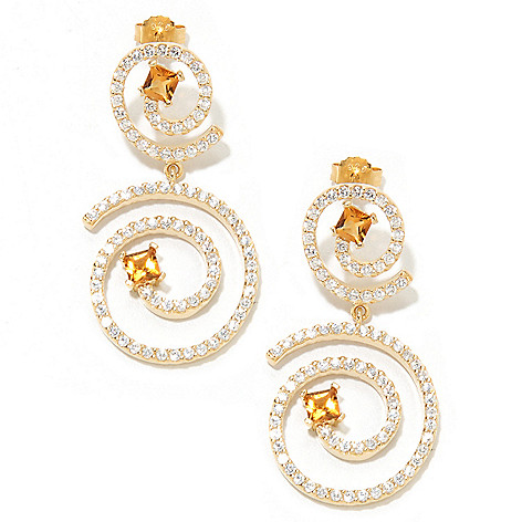 133-588 - Sonia Bitton Gold Embraced™ 1.75'' Square Citrine Swirl Drop Earrings