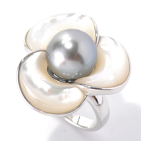 133-599 - Sterling Silver 11-12mm Black Tahitian Pearl & Mother-of-Pearl Flower Ring