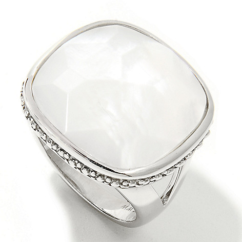133-600 - Sterling Silver 19mm Faceted Mother-of-Pearl Rounded Square Ring
