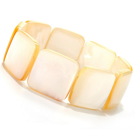133-605 - 7'' 22mm Rounded Square Mother-of-Pearl Stretch Bracelet