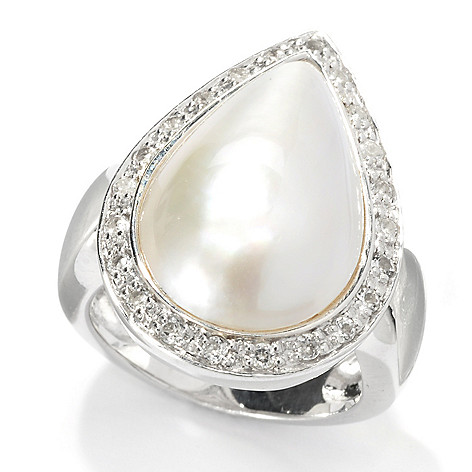 133-613 - Sterling Silver 19 x 12.5mm Pear Shaped Mabe Cultured Pearl & White Topaz Ring