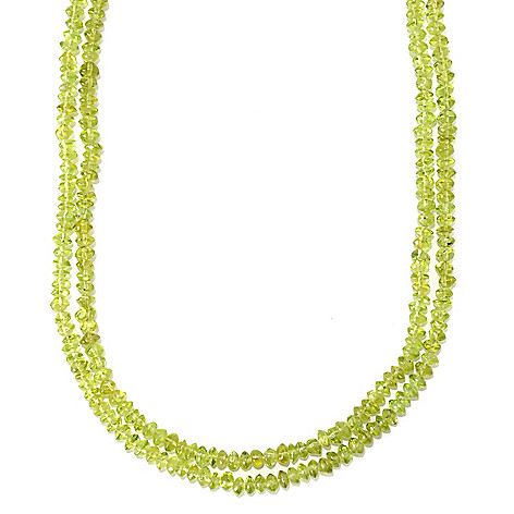133-620 - Gem Insider Sterling Silver 20'' Peridot Chip Bead Two-Strand Toggle Necklace