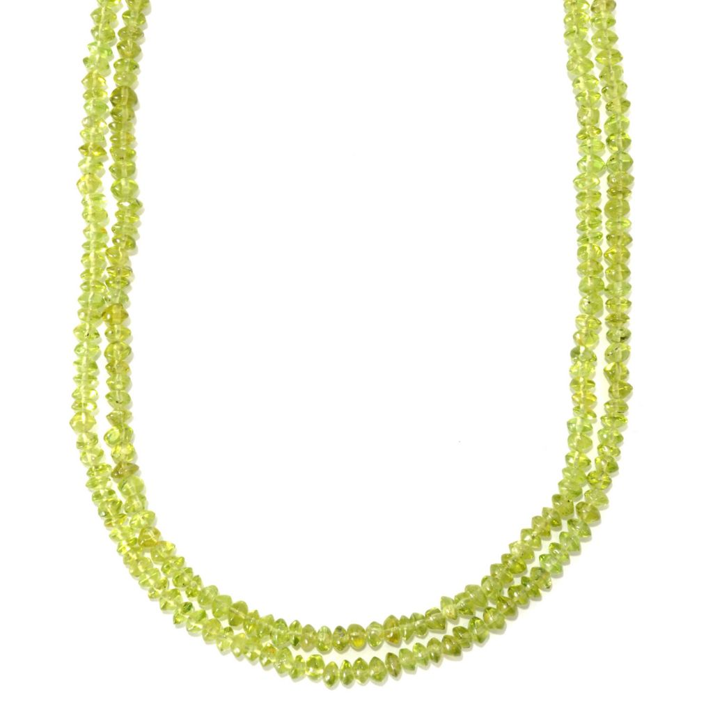 "133-620 - Gem Insider Sterling Silver 20"" Peridot Chip Bead Two-Strand Toggle Necklace"
