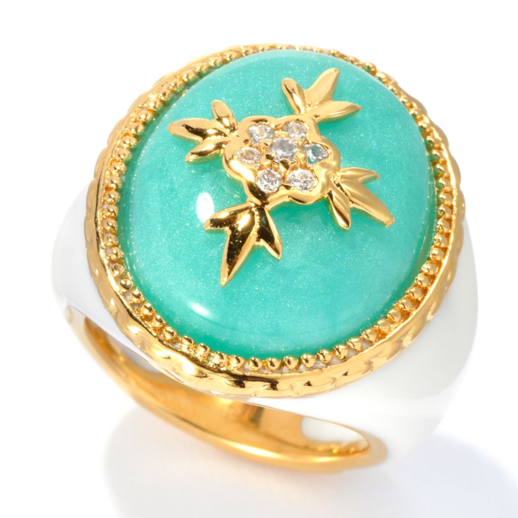 133-632 - Hampton Avenue™ Gold Embraced™ Simulated Diamond Teal & White Oval Flower Ring