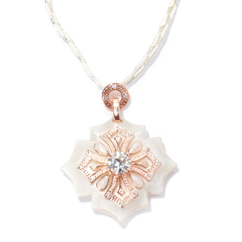 133-635 - Hampton Avenue™ 2.28 DEW Rose Gold Embraced™ Round Simulated Diamond Cross Pendant