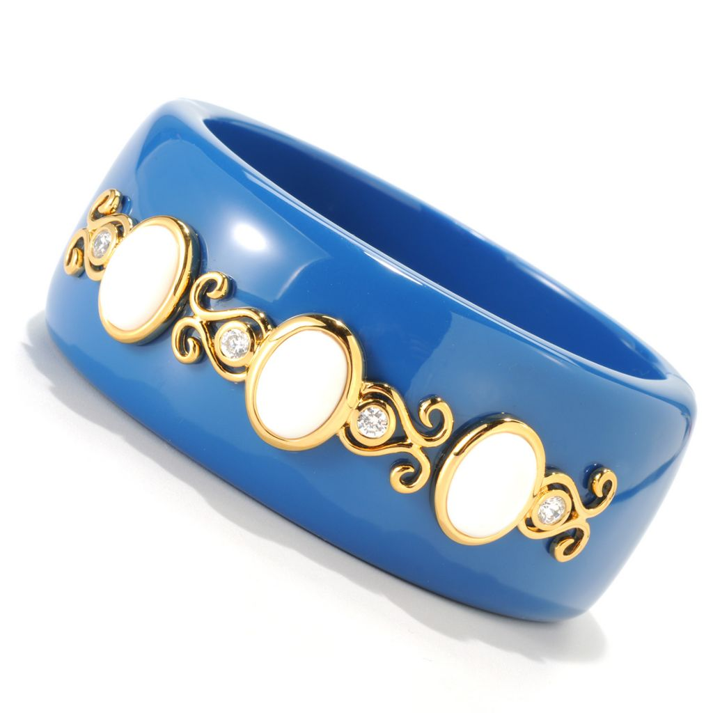 133-638 - Hampton Avenue™ Gold Embraced™ Simulated Diamond Blue & White Wide Bangle Bracelet