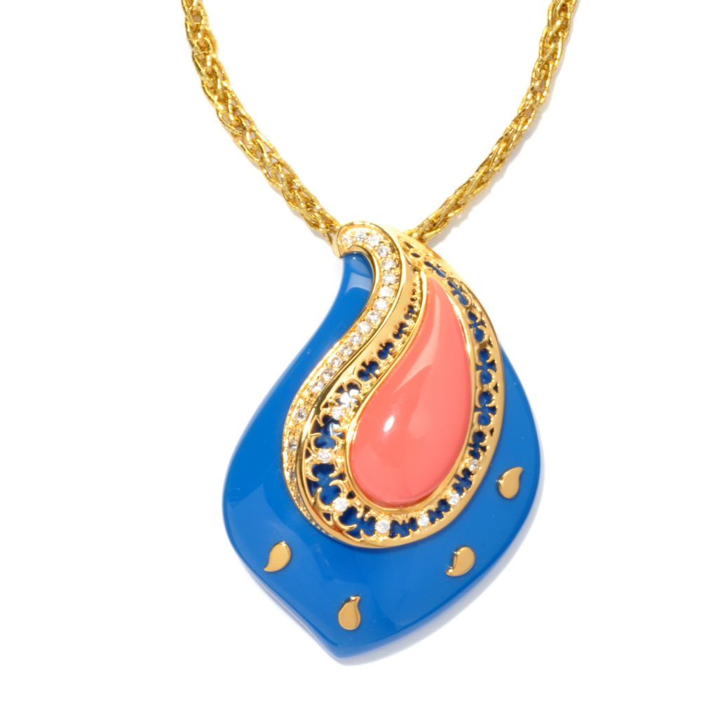 133-640 - Hampton Avenue™ Gold Embraced™ Simulated Diamond & Resin Paisley Pendant w/ Cord