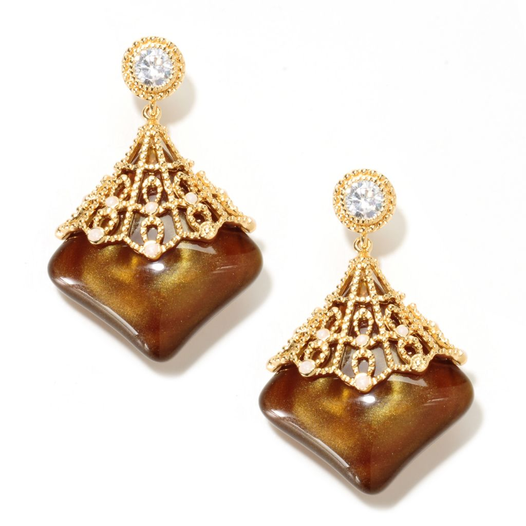 "133-644 - Hampton Avenue™ Gold Embraced™ 2"" 1.68 DEW Simulated Diamond Overlay Drop Earrings"