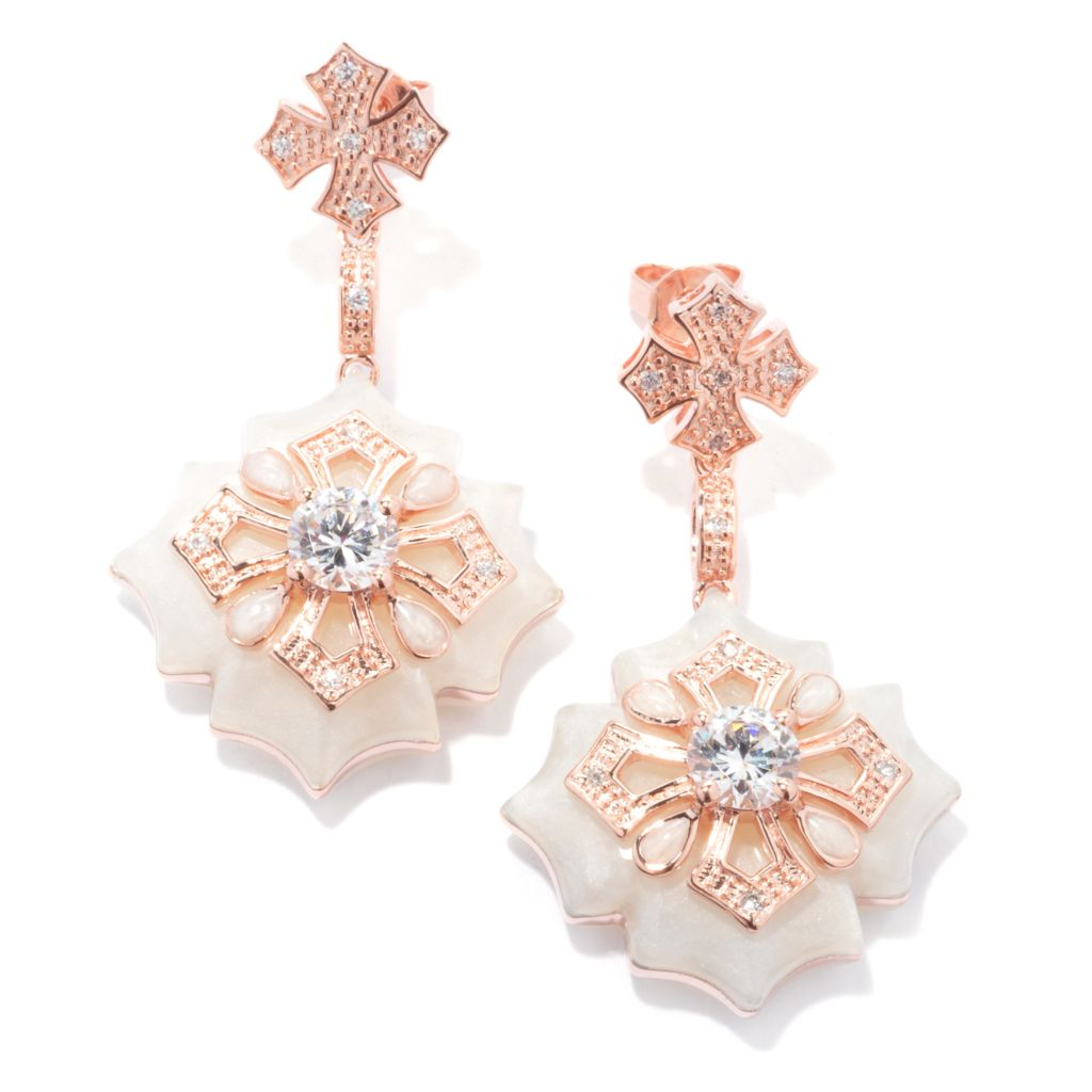 "133-646 - Hampton Avenue™ 1.88 DEW Rose Gold Embraced™ 1.75"" Simulated Diamond Cross Earrings"