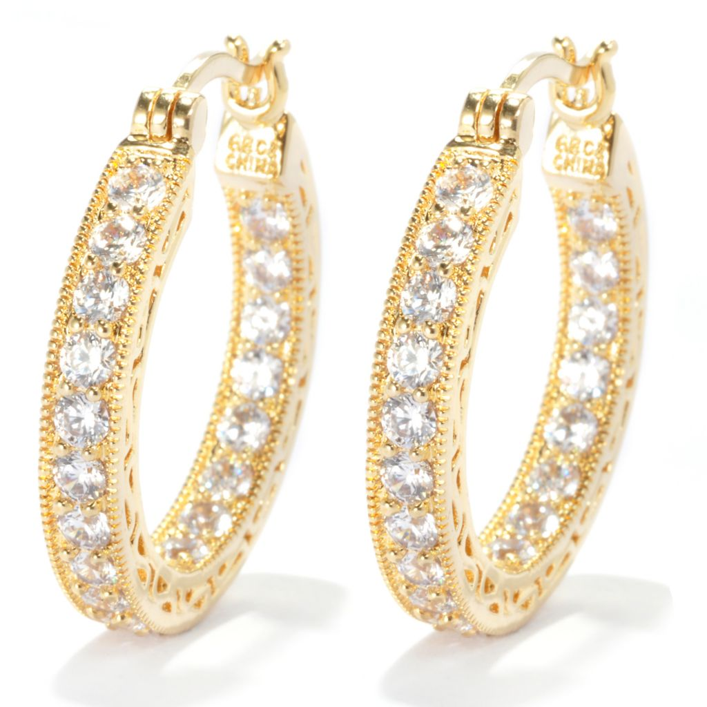 133-650 - Brilliante® Round Cut Simulated Diamond Inside-Out Hoop Earrings