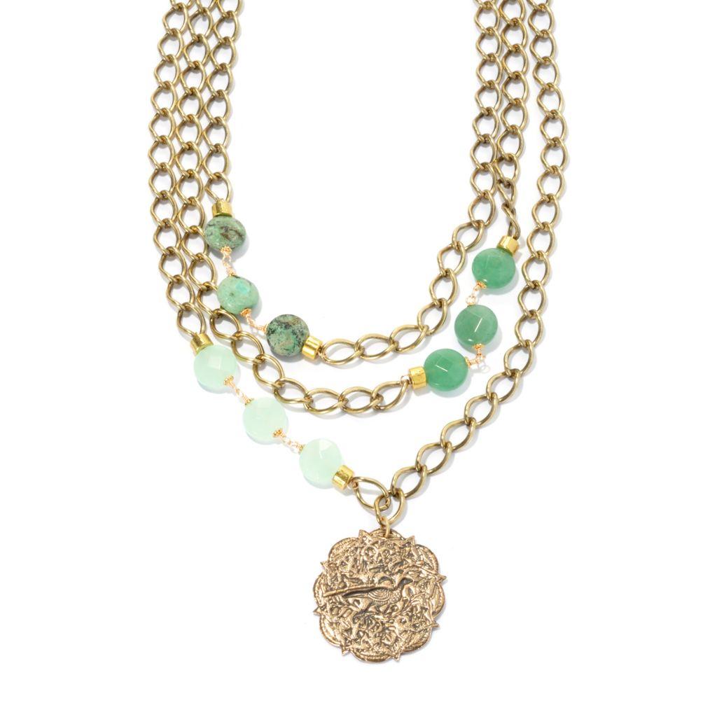 "133-653 - mariechavez 18.5"" Chalcedony, Aventurine & Turquoise Multi Strand Necklace"
