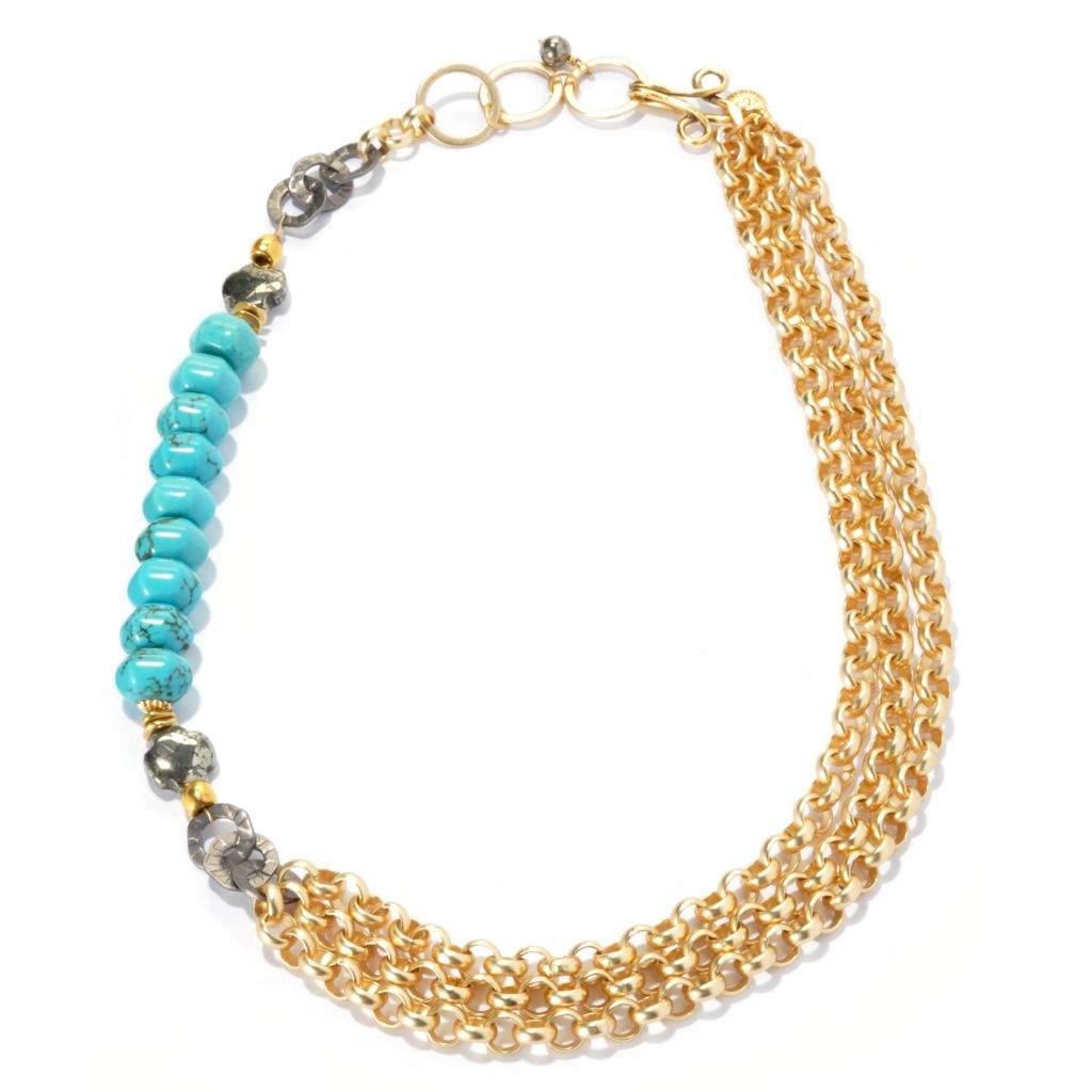 "133-659 - mariechavez 20"" Turquoise & Pyrite Multi Strand Chain Link Necklace"