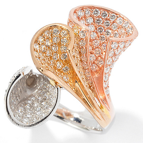133-664 - Sonia Bitton Tri-Color Simulated Diamond Champagne Flute Celebration Ring