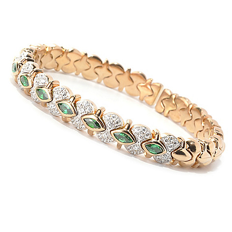 133-665 - Sonia Bitton 3.03 DEW Bezel Set Marquise Simulated Emerald Dream Fit™ Cuff Bracelet