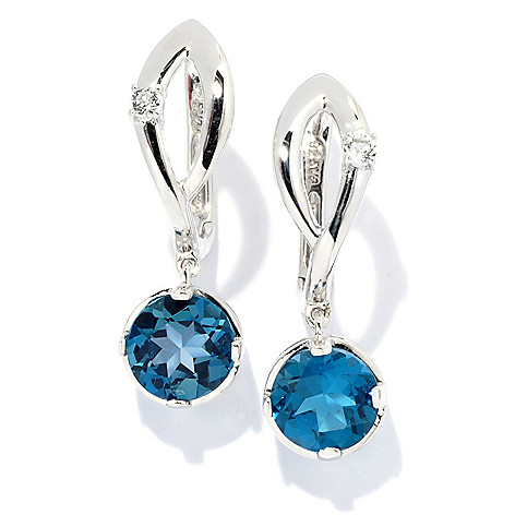 133-685 - Gem Treasures Sterling Silver 1'' White Topaz & Gemstone ''Kellie Anne'' Earrings