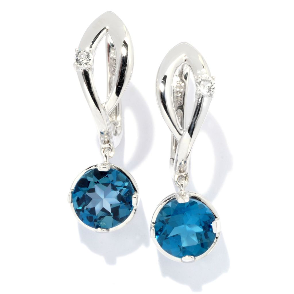 "133-685 - Gem Treasures Sterling Silver 1"" White Topaz & Gemstone ""Kellie Anne"" Earrings"