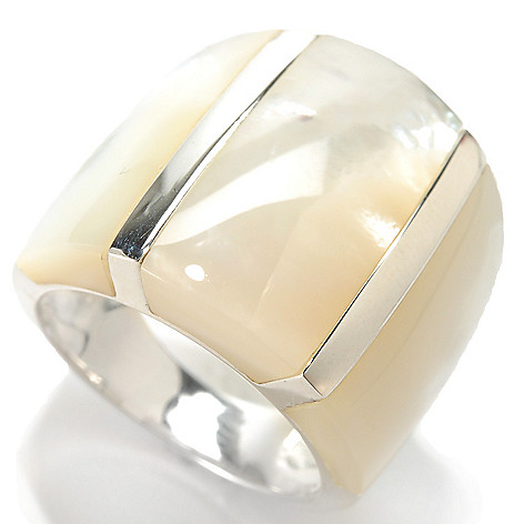 133-687 - Sterling Silver Mother-of-Pearl Wide Ring
