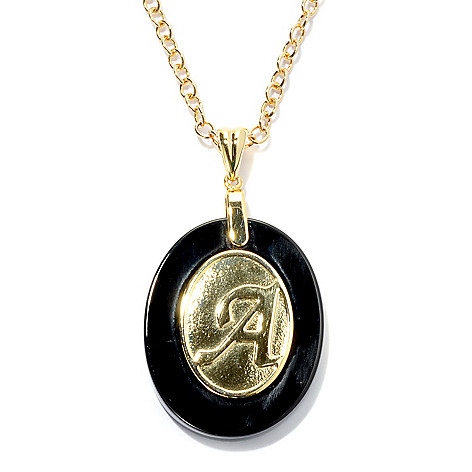 133-689 - 30 x 24mm Onyx Embossed Initial Oval Pendant w/ 18'' Chain