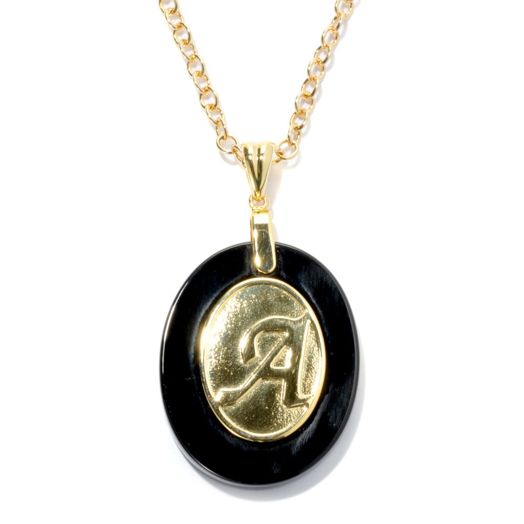 "133-689 - 30 x 24mm Onyx Embossed Initial Oval Pendant w/ 18"" Chain"