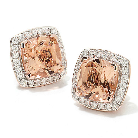 133-690 - Brilliante® Gold Embraced™ Cushion Cut Simulated Gemstone Halo Stud Earrings