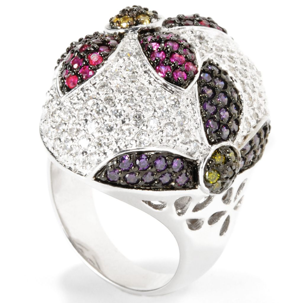 133-695 - Neda Behnam Platinum Embraced™ 3.47 DEW Pave Simulated Gemstone Oval Flower Ring