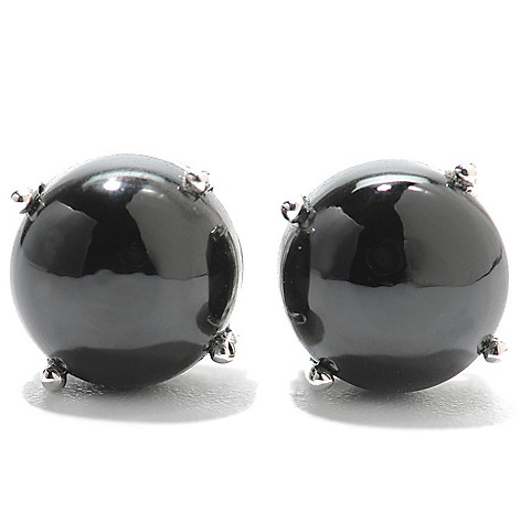 133-699 - Gem Treasures Sterling Silver 8mm Round Gemstone ''Kellie Anne'' Stud Earrings