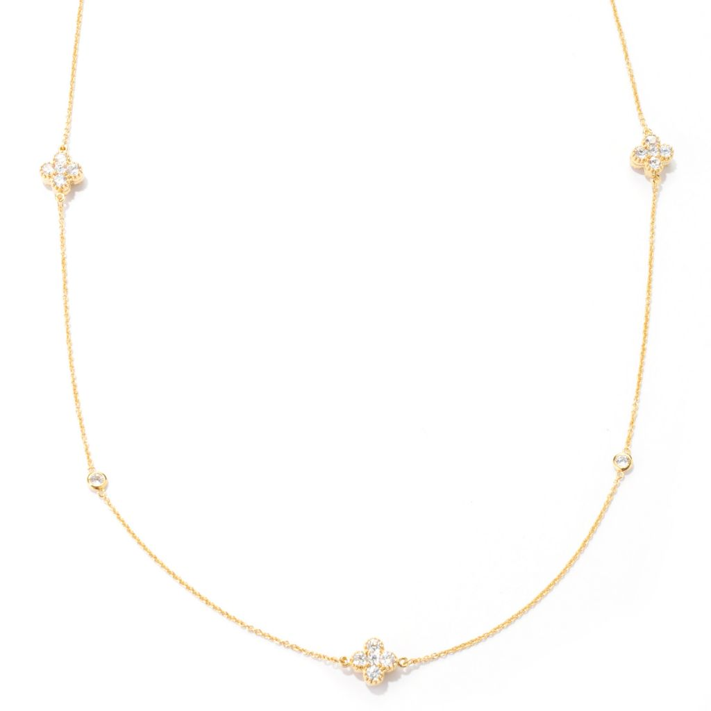 "133-704 - Sonia Bitton 36"" 8.58 DEW Simulated Diamond Reversible Four-Leaf Clover Station Necklace"