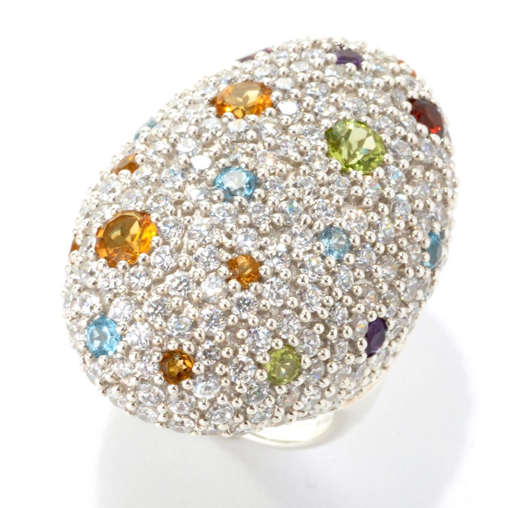 133-706 - Sonia Bitton Platinum Embraced™ Genuine Gemstone & Simulated Diamond Oval Dome Ring