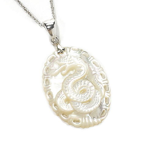 133-713 - Sterling Silver 30 x 23mm Oval Mother-of-Pearl Snake Pendant w/ 18'' Chain