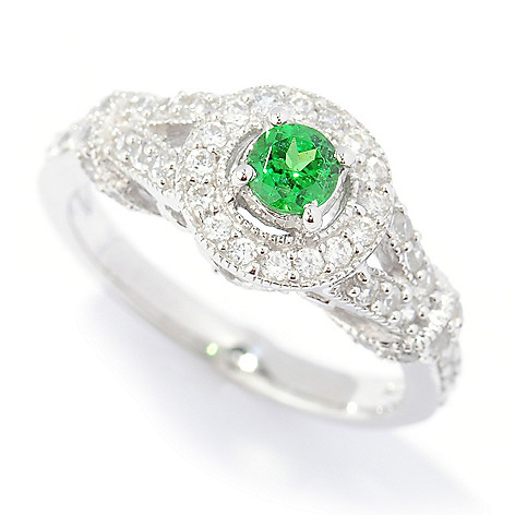 133-714 - Gem Treasures Sterling Silver Tsavorite & White Zircon ''Kellie Anne'' Halo Ring
