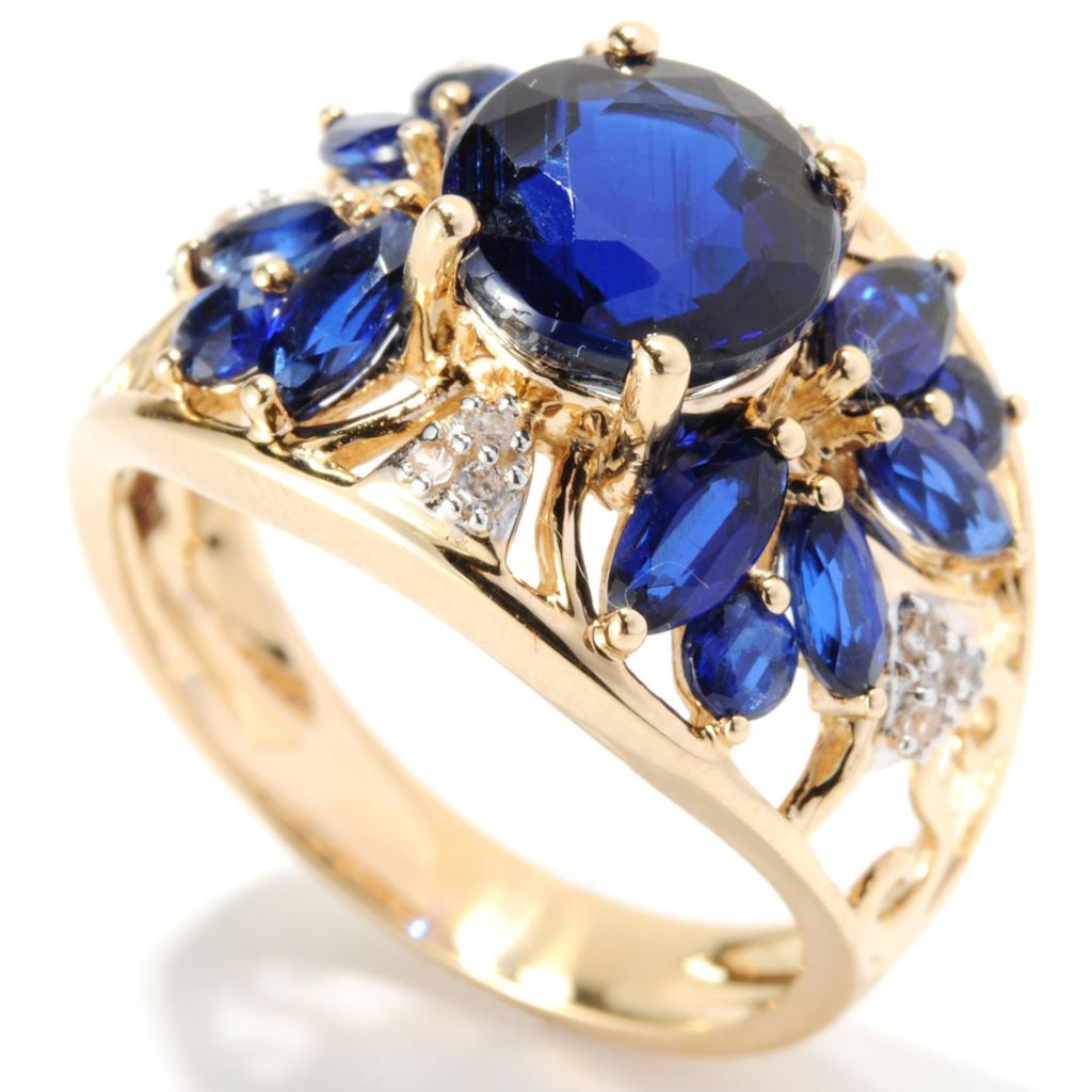 "133-715 - Gem Treasures 14K Gold 3.86ctw Kyanite & White Zircon ""Kellie Anne"" Ring"