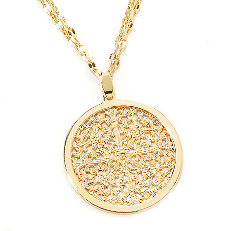 133-716 - Dettaglio 18K Gold Embraced™ Ornate Medallion Pendant w/ 20'' Two-Strand Chain
