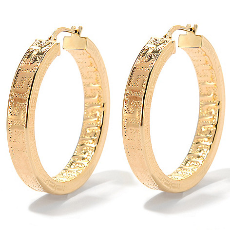 133-718 - Dettaglio™ 18K Gold Embraced™ 1.5'' Greek Key Hoop Earrings